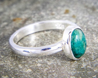 Amazonite ring, Sterling silver stacking ring - green gemstone - Artisan ring