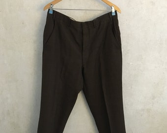 Vintage Men's Pants Slacks Rockabilly 1950s Hepcat Pleat-Front Trousers Brown