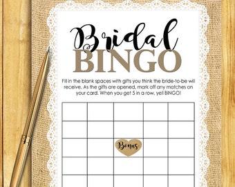Bridal Shower BINGO Game Download - BURLAP and LACE Glitter Confetti Instant Printable Digital Download - diy Bridal Shower Printables