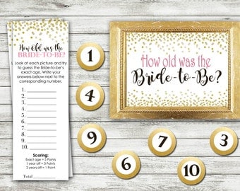How Old Was the Bride - Bridal Shower Game Download - Coral and Gold - Instant Printable Digital Download - diy Bridal Shower Printables