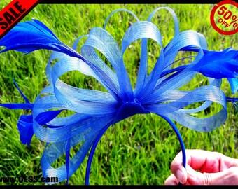 Rush Order-Priority-Blue Feather Fascinator,Unique Derby Fascinator,Colorful Fascinator,Tea Party Fascinator,Ascot Hat,Feather Headband