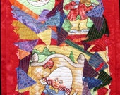 "Nursery Rhyme Character Art Quilt, Baby Quilted Wall Hanging, Toddler Wall Art, Baby Nursery Art, Children's Wall Hanging, 10.5"" x 16.5"""