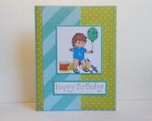 Birthday Card, Paper Handmade Greeting Card, Baby Birthday Card, Male Birthday, Baby's First Birthday, Toddler Card, Happy Birthday, Green
