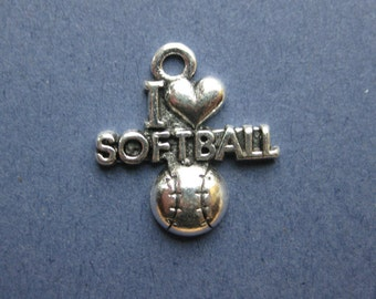 5 I Love Softball Charms - I Love Softball Pendants - Sports Charm - Softball Charm - Antique Silver - 19.5mm x 20.5mm  -- (No.59-10199)