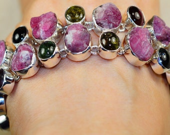 Beautiful Rough Rubellite Tourmaline and Watermelon Tourmaline set in Solid 925 Sterling Silver Bracelet