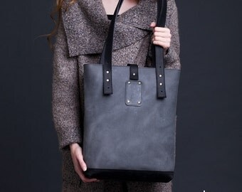 Grey Black Leather Tote Bag / Women Handbag / Genuine Leather Shopper Bag / Leather Handbag / Leather Ladies Shoulder Bag