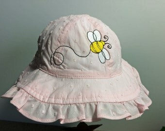 Baby Girl Ruffle Brim Embroidered Sun Hat with Chin Strap, Girl's Pink Sun Hat with Embroidery, Baby Sun Bonnet, SZ 6-18 Mos.