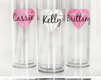14 skinny cups,personalized cups, bridal shower gift, wedding gift, wedding cups, bridesmaids gift, Bachelorette gift, Bride gift