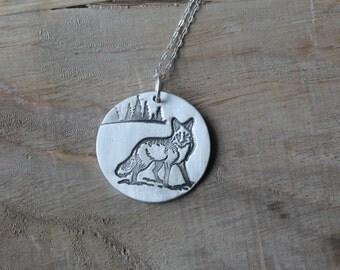 Fox fine silver pendant