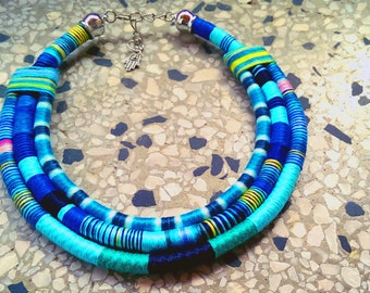Pico Blue Necklace African Necklace Ethnic Necklace Massai Necklace Statement Necklace Thread Neklace African Jewelry Tribal Necklace