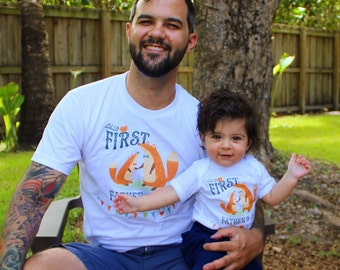 DADDY & ME First Father's Day matching Shirt and baby bodysuit romper one piece With Foxes / Father's Day baby shirt / fox baby shirt, fox