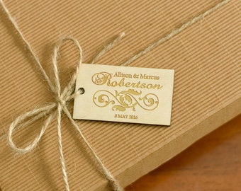 Custom Wooden Wedding Gift Tags Rustic Wedding Party Engraved Personalized Hang Tags Natural Wood