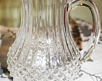 "Fancy Brilliant Clear Glass Water Pitcher Narrow Top Wider Cut at the Bottom 8-1/4"" High Very Elegant"