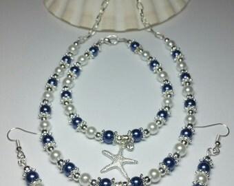 SALE, Glass Pearl Starfish Jewellery Set, Royal Blue White Pearl Necklace Bracelet Earrings Gift Set, Bridesmaids Set, Beach Wedding