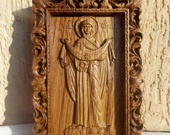 Christian Housewarming gift Wood Carved Religious orthodox icon Virgin Mary Personalized engraved christian wall art on wood