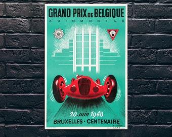 Grand Prix De Belgique Poster, Car Race Poster, Vintage Poster, Vintage Poster