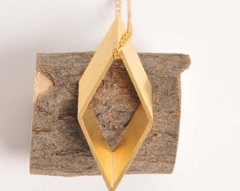 Vintage rhombus brass necklace