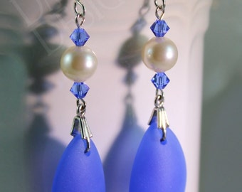Summery Seaglass Earrings in Sky Blue