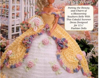 Sue Ellen of Savannah, Ladies of Fashion Spring Floral Southern Bell Thread Crochet Barbie doll dress pattern.