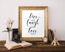 Bedroom wall art, Live Laugh Love art, Master bedroom decor, Home decor,Instant download, Wall art, Positive affirmation print BD-623