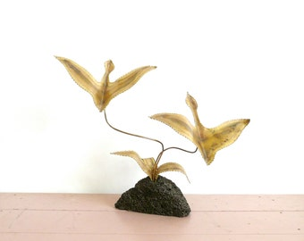 Vintage Metal Flying Birds Tabletop Sculpture with Pumice Stone Base