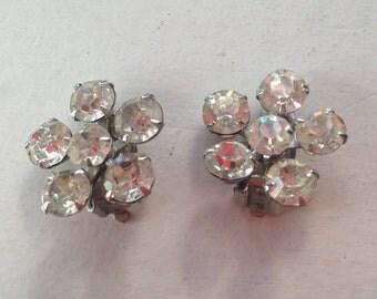 Signed Weiss Clear Rhinestone Flower Earrings 0483