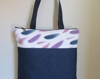 Bag style tote in denim and canvas hand painted fabric. Tote bag.