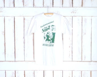 Vintage Heidelberg Germany white/green tshirt/student pullover tee/music graphic tee