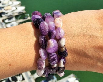 Amethyst Bracelet Quartz Healing Gemstone Jewelry infused w/ Reiki