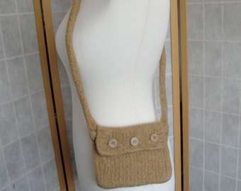 camel felted bag, crossbody bag, felt shoulder bag, wool felt bag, knitted felt purse, handy shoulder bag, light brown felt bag, camel purse