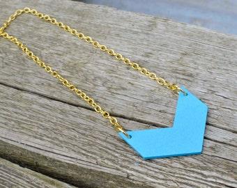 Blue Chevron Necklace, Wooden Chevron Necklace, Chevron Pendant, Gold Chevron Necklace.