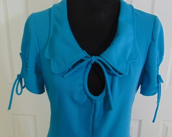 REDUCED - Vintage Turquoise Maxi Mod Dress - 1960/70's