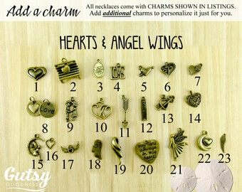 Hearts and Angel Wings Themed Charms You Can Add to Your Gutsy Goodness Pendant Necklace or Keychain, Antique Bronze