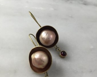 Domed Brass Earrings with Pearl and NY Garnet
