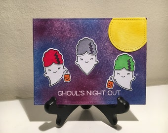 """Cute Halloween Card """"Ghoul's Night Out"""" - Halloween Greeting Card, Happy Halloween, Funny Pun Card, Card for Her, Card for Him"""