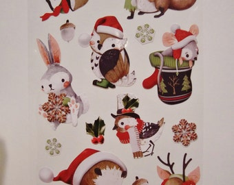 Cute Vintage Look Forest Critters Christmas Stickers