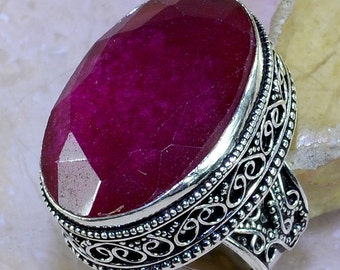 Cherry Ruby Antique Style Sterling Silver Ring Size 7 1/4