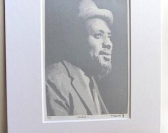 Thelonious Monk linoleum print