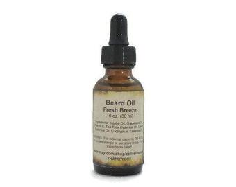 Natural Beard Oil - Fathers Day Gift - Fresh Breeze Beard Oil - Men Beard Moisturizer - Gift for Him.