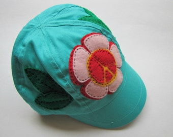 Peace Flower Toddler's Hand Sewn Cap - One Size
