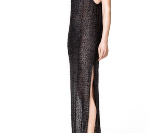 Long Black Beach Dress with Silver Highlights by ILMNE