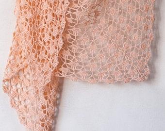 Crochet cotton pink summer shawl, summer cotton wrap, knitted cotton shawl, knitted cotton wrap, pale pink shawl, spring shawl, summer shawl