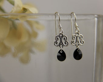 Dangling silver scrollwork filigree charm with black Swarovski crystal earrings [E24J]