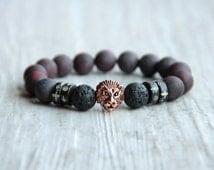 Men lion bracelet Dark red bracelet Matte bracelet Frosted bracelet Jasper Lava beads Stone jewelry Black bracelet Gift for man boyfriend