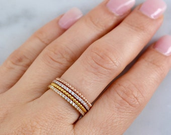 Eternity ring set. Set of four rings. Eternity band ring. Bead ring. Stackable ring set. Silver ring set. Eternity band ring set. Jewelry.