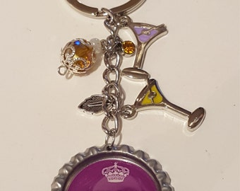 "Purple ""Keep Calm and Drink Wine'' bottlecap keychain"