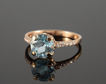 Engagement ring, Gemstone ring, Topaz ring, Rose gold ring, Halo ring, Blue stone ring, Blue topaz ring, December birthstone