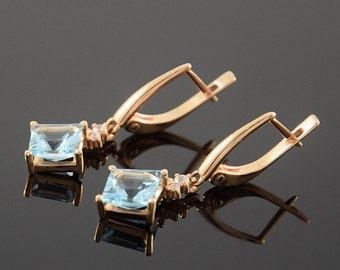 Dangle earrings, Gold dangle earrings, Topaz earrings, Gold topaz earrings, Geometric earrings, Unique earrings, Modern earrings