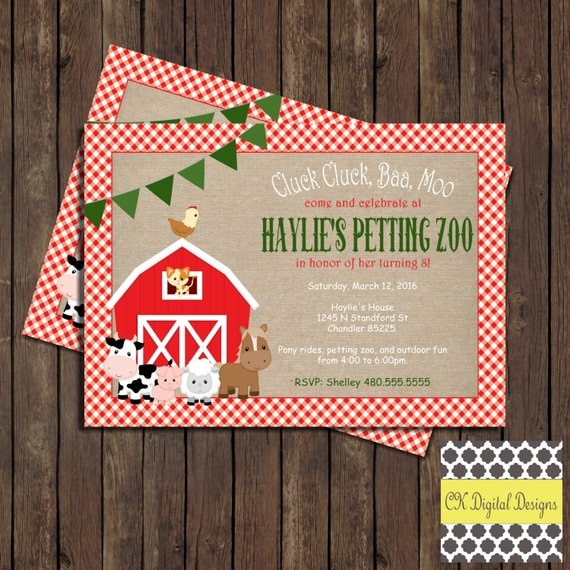 Items Similar To Petting Zoo Birthday Party Invitation On Etsy