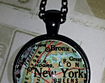 New York City Map Glass Cabochon Necklace